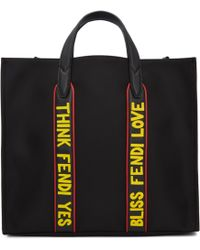 Fendi | Black Nylon 'think ' 'yes' Tote | Lyst