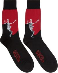 Alexander McQueen - Black And Red Dancing Skeleton Socks - Lyst