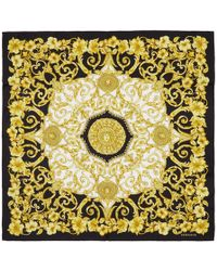 Versace - Black And Gold Silk Barroco Scarf - Lyst