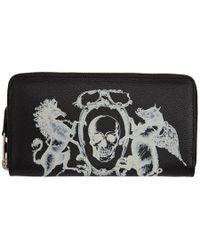 Alexander McQueen - Black 'coat Of Arms' Continental Zip Around Wallet - Lyst