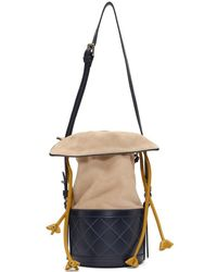 Carven - Navy And Beige Sully Bucket Bag - Lyst