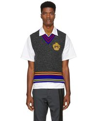 Versace - Grey Cropped V-neck Sweater - Lyst