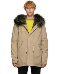 Mr & Mrs Italy - Beige And Green Canvas Small Hooded Fur Parka - Lyst