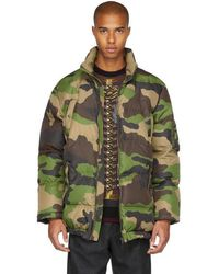 Moschino - Green Camo Down Coat - Lyst