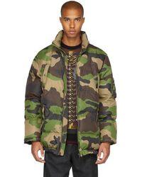 Moschino | Green Camo Down Coat | Lyst