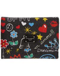 Dolce & Gabbana - Black Small Graffiti Trifold Wallet - Lyst