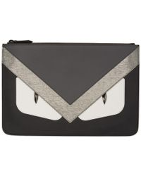 Fendi - Black And Silver Bag Bugs Pouch - Lyst