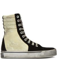 Palm Angels - Black & Off-white Distressed Suede Super High-top Trainers - Lyst
