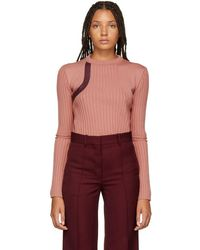 Nina Ricci - Pink Leather Patch Sweater - Lyst