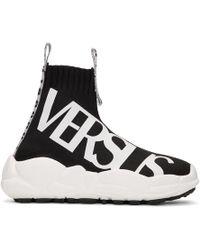 Versus - Black Logo Ribbons Sock Trainers - Lyst