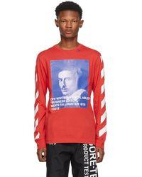 Off-White c/o Virgil Abloh T-shirt a manches longues rouge Diagonal Bernini