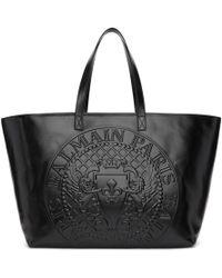 Balmain - Black Logo Shopping Horizontal Tote - Lyst