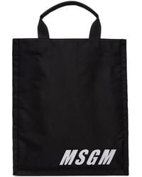 MSGM - Black Embroidery Shopper Tote - Lyst