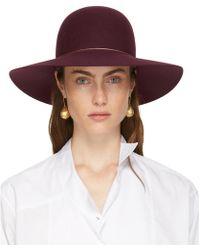 Lanvin - Burgundy Capeline Hat - Lyst