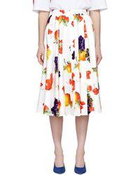 MSGM - Fruit Print Midi Skirt - Lyst