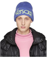 0457ac95 Versace Cable-knit Beanie Hat in Black for Men - Lyst