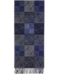 Loewe - Blue And Grey Logo Anagram Scarf - Lyst