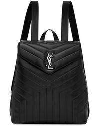 Saint Laurent - Black Medium Loulou Backpack - Lyst