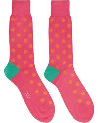 Paul Smith - Pink And Orange Bright Spot Socks - Lyst