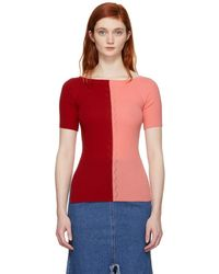 SJYP - Red And Pink Knit Off-the-shoulder Jumper - Lyst