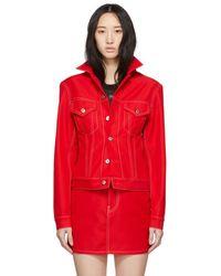 Helmut Lang - Red Denim Femme Trucker Jacket - Lyst