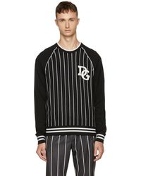 Dolce & Gabbana - Black And White Striped The King Sweater - Lyst