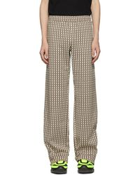 Valentino - Burgundy And Off-white Optical Print Lounge Pants - Lyst