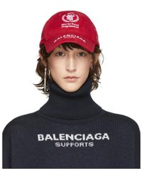 Balenciaga - Red World Food Programme Embroidered Cap - Lyst