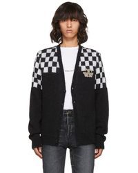 Saint Laurent - Black And White Half Check Embroidered Cardigan - Lyst