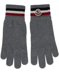 Moncler - Grey Wool Corporate Gloves - Lyst
