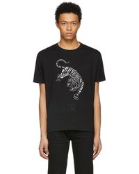 Balmain - Black Embroidered Tiger T-shirt - Lyst