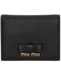 Miu Miu - Black Bow Logo Wallet - Lyst
