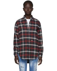 DSquared² - Grey And Red Flannel Saddle Shoulder Shirt - Lyst