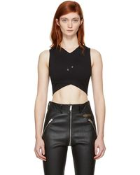 Versus - Black Cropped Cross-over Safety Pin Top - Lyst