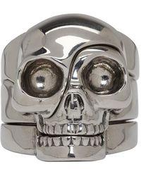 Alexander McQueen - Silver Divided Skull Ring - Lyst