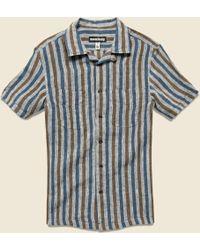 Monitaly - Vacation Shirt - Navy/tan Stripe - Lyst