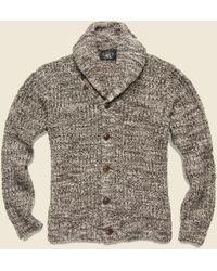 RRL - Cotton Shawl-collar Cardigan - Brown Cream Marl - Lyst