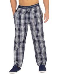 GANT - Navy Check Woven Pyjama Bottoms - Lyst