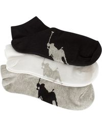 Polo Ralph Lauren - Black/white/grey 3 Pack Logo Ankle Socks - Lyst
