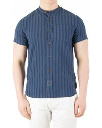Scotch & Soda - Denim Blue Garment-dyed Shortsleeved Shirt - Lyst