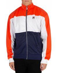 Fila Vintage - White/orange/peacoat Sterling Cut & Sew Colour Block Track Jacket - Lyst