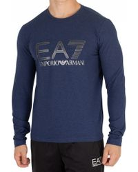 EA7 - Logo Series Long Sleeve Top - Lyst