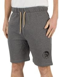 DIESEL Mid Grey Marl Pan Only The Brave Logo Sweat Shorts