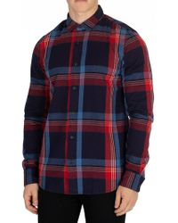 Scotch & Soda - Men's Flannel Shirt, Red Men's Long Sleeved Shirt In Red - Lyst