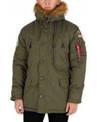 Alpha Industries - Dark Green Fur Hooded Polar Jacket - Lyst