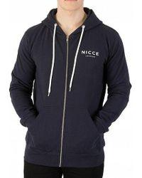 Nicce London - Navy Zip Logo Hoodie - Lyst