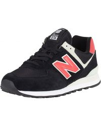 New Balance - Black/pomelo 574 Suede Trainers - Lyst