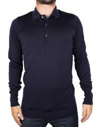 John Smedley - Midnight Longsleeved Knitted Polo Shirt - Lyst