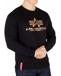 Alpha Industries - Black/gold Basic Sweatshirt - Lyst