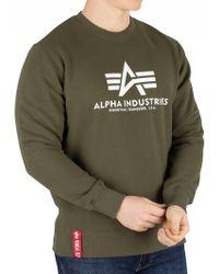 Alpha Industries - Dark Green Basic Sweatshirt - Lyst